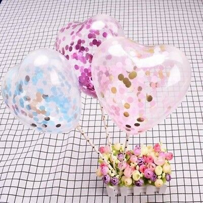 "5pcs 5"" Love Heart Confetti Balloons Cake Toppers Wedding Birthday Party Decor"