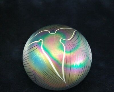 Iridescent Pulled Feather Art Glass Paperweight ~  Excellent Condition