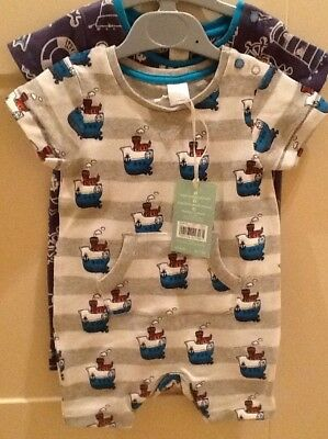 Boots Mini Club Baby Boy 0-3 Months Two Novelty Body Suits Grey & Blue