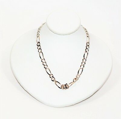 Fine 4.75mm Figaro 14kt White Gold Mens Chain Link Statement Necklace