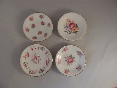 4 Adderley Fine Bone China Butter Pats made in England pink roses