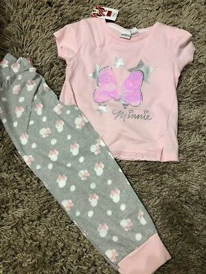 Primark Girls Disney Minnie Mouse 2 Way Sequin Pyjamas Nightwear Bnwt All Ages