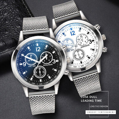 Men's Military Watches Analog Quartz Stainless Steel Band Big Dial Wrist Watches
