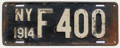 New York 1914 License Plate, F 400, Antique, Garden Art, Garage Sign
