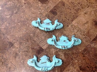 317 VTG Chippendale Turquoise Drawer Pulls Shabby Chic , 3 Available Each
