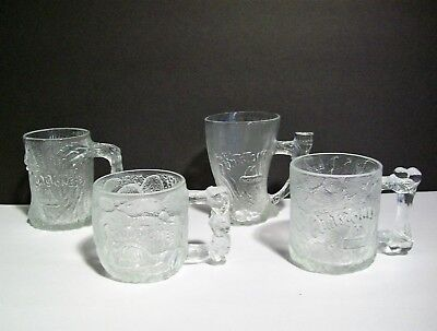 Complete Set of 4 McDonald's FLINTSTONES GLASSES Mug France 1993 RocDonald's