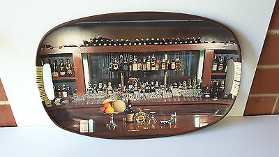 Vintage Retro Bar theme serving Tray 1970'S  OVAL  GLASSES DECANTERS