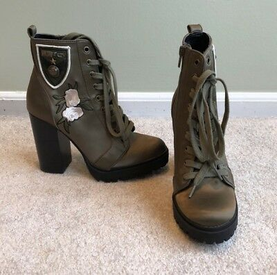 578fb736ee5 STEVE MADDEN WOMENS Laurie Combat Boots Olive Floral Embroidery Size 6 NEW