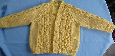 Baby Hand Knitted Yellow Jacket, With Cable Front (6)