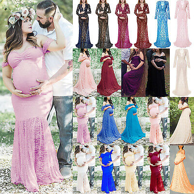 Pregnant Maternity Long Maxi Gown Dress Women Lace Photography Formal Dresses