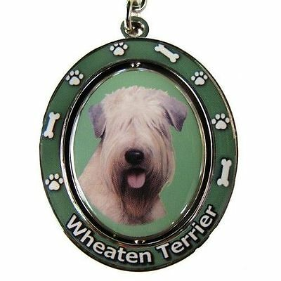 Soft Coated Wheaten Terrier Dog Spinning Key Chain Fob