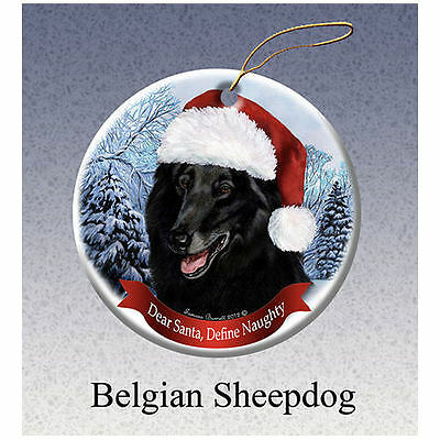 Belgian Sheepdog Howliday Porcelain China Dog Christmas Ornament