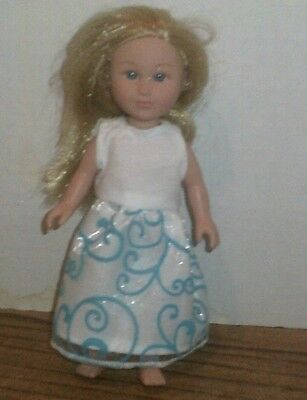 "6-7"" Doll Clothes-fit Mini My Life American Girl -Party Dress- White Blue Swirl"