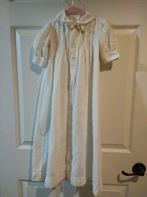 Vintage Antique Child's Night Gown - Embroidered - Cotton Flannel
