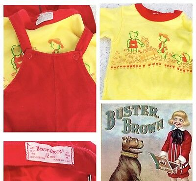 Vintage 12 Mo 2pc Buster Brown Red Overalls And Top With Cute Graphics