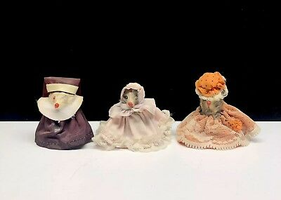 3 Vintage Russ West Germany Real Fur Toy Mouse Fancy Ladies & a Nun