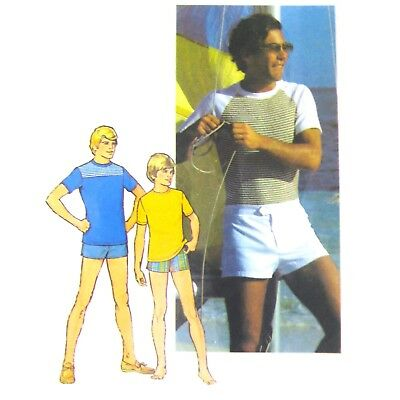 Vtg 70s Simplicity 7550 Mens Short Sleeve T-Shirt Top Swim Shorts Trunks 44 FF