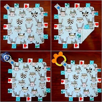 Fox & Friends Mini Size TaGgie Taggy Tag Blanket Toy comforter Dummy clip Holder
