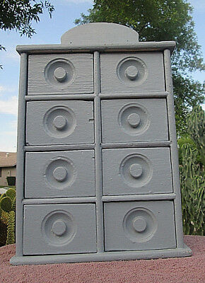 Painted Antique Spice Cabinet Wall Storage Farm Primitive Wood Box AAFA Clean