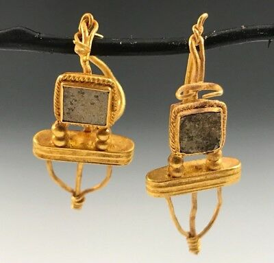 Ancient Hellenistic Gold Earrings; Irridecent Glass Decoration ! Elegant Pair!