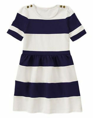 NWT Gymboree FLOWER SHOWER Navy White Color Blocked Dress Striped 4 5 6