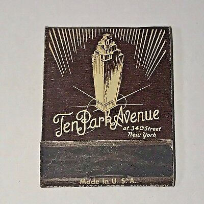 Vintage Matchbook Book Front Strike Matches Ten Park Avenue Hotel New York NY