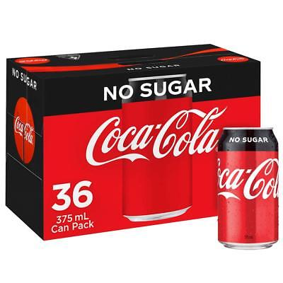 Coca-Cola Coke No Sugar Soft Drink Multipack Cans 36 x 375mL Pack