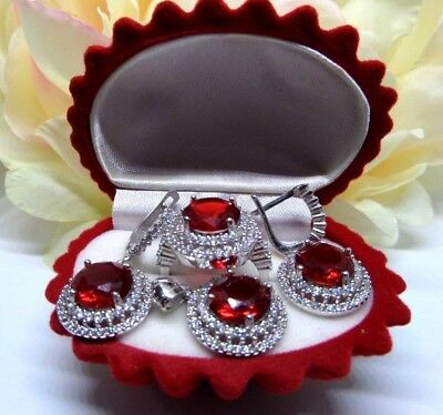 Aaa Quality Handmade Jewelry 925 Sterling Silver / Lady Ruby Set Ring Size 6.25