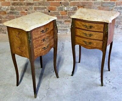 Beautiful French Louis XV Marble Bombe Commode Bedside Cabinets Tables Set 2