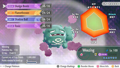 Pokemon Let's Go Pikachu & Eevee - Shiny Weezing 6iv