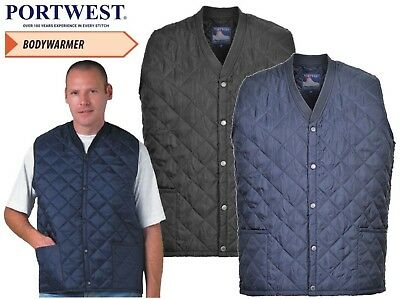 Portwest Kinross Mens Bodywarmer Quilted Padded Gilet Lined Black And Navy S413
