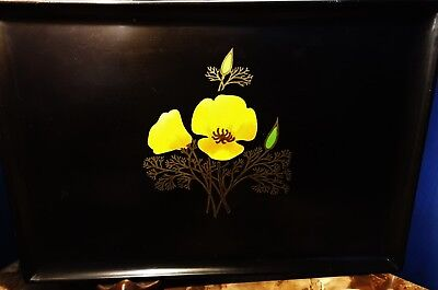 Vintage Black Couroc of Monterey Phenolic Resin Serving Tray Made in USA