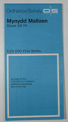 1972 vintage OS Ordnance Survey 1:25000 First Series Map SN 74 Mynydd Mallaen