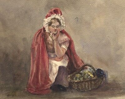 Ann Turner, Girl in Red Cloak with Basket -Mid-19th-century watercolour painting