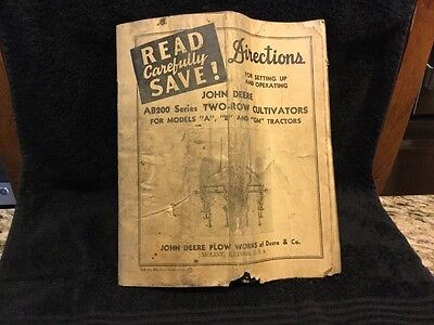 1946 John Deere Plow Works Two Row Tractor Cultivator Manual Dir 386 - 10-46