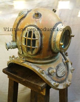 Vintage Nautical Us Navy Mark V Heavy Model Aluminum Diving Divers Helmet Gift