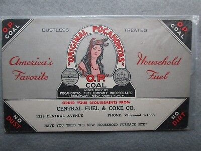 Original Pocahontas O.P. Coal Blotter, Central Fuel & Coke Co. Detroit, Michigan