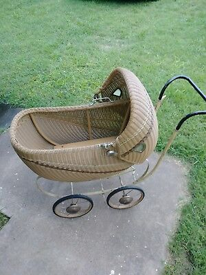 Late 1800's/Early1900's Antique Vintage Stroller Baby Carriage Wicker Buggy