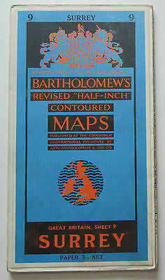 1959 old vintage Bartholomew's 'Half-inch' map sheet 9 Surrey - paper