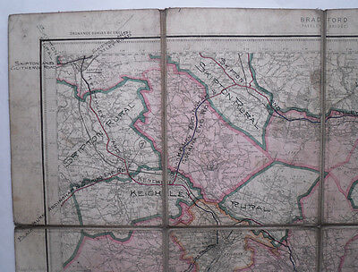 1899 Old OS Ordnance Survey Revised New Series coloured one-inch map 69 Bradford