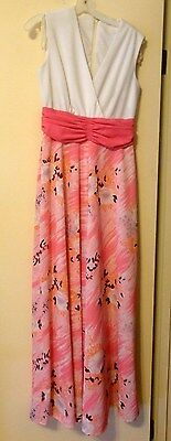 Rare Vtg 60s Pink & White Womens Floral Bottom Palazzo Pants Jump Suit-Appx Sz 8