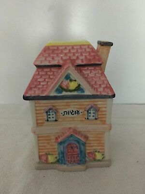 """Vintage Collectible Cottage House Cookie Jar Ceramic 8"""" Tall"""