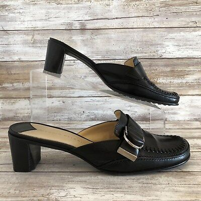 b2bf5782ca3f Antonio Melani Womens 7.5M Kelsey Black Leather Moc Toe Block Heel Mules  Shoes