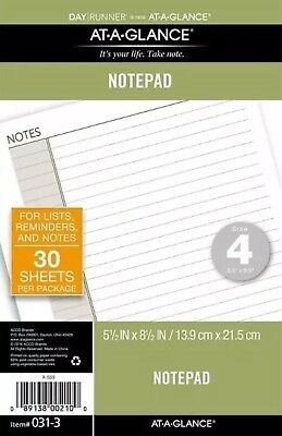 Day Runner Lined Note Pad Size 4 - Planner Note Pages