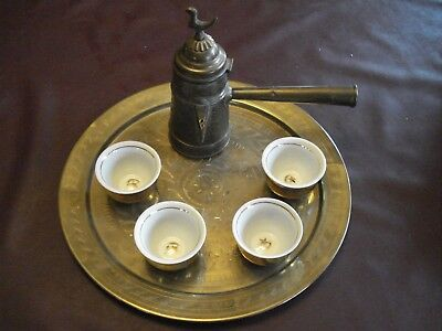 Vintage Middle Eastern Coffee Maker, 4 China Cups & Holders w/Brass Tray