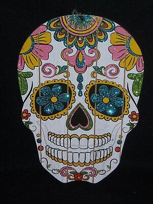 """Day Of The Dead Sugar Skull Wall Hanging Decoration (13"""" X 8"""") Wooden"""