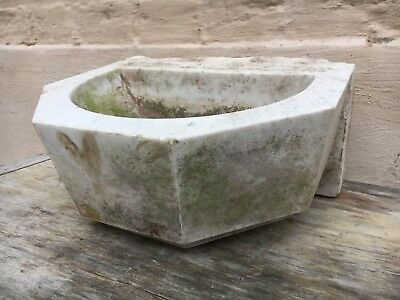 Beautiful Antique Chapel Baptismal Holy Water font in white marble circa 1880
