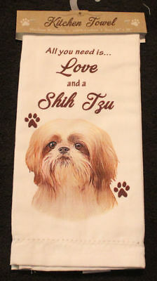 Shih Tzu Tan Puppy Dog Breed Cotton Kitchen Dish Towel