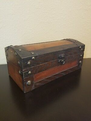 Vintage Wooden Antique Style Treasure Chest Box Trunk Home or Nautical Decor