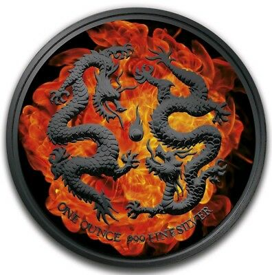 2018 1 Oz Silver $2 Niue BURNING DOUBLE DRAGONS Ruthenium Coin.